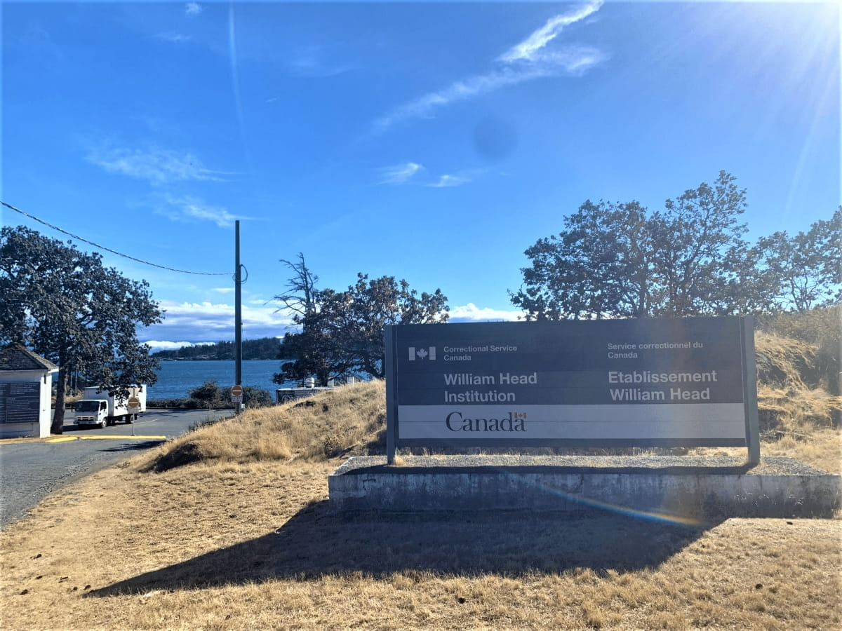 Sign at the entrance of William Head Institution near Victoria, British Columbia